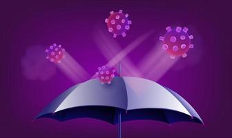 concepto de protección covid-19. ilustración de coronavirus con paraguas vector
