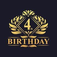 4 years Birthday Logo, Luxury Golden 4th Birthday Celebration. vector