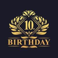 10 years Birthday Logo, Luxury Golden 10th Birthday Celebration. vector