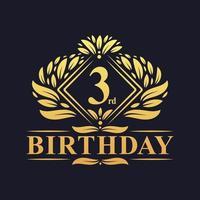 Logotipo de cumpleaños de 3 años, celebración de tercer cumpleaños de oro de lujo. vector