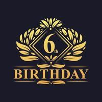 6 years Birthday Logo, Luxury Golden 6th Birthday Celebration. vector