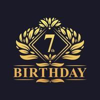 7 years Birthday Logo, Luxury Golden 7th Birthday Celebration. vector