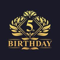 5 years Birthday Logo, Luxury Golden 5th Birthday Celebration. vector