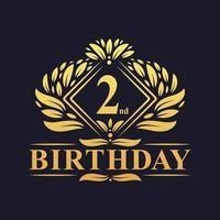 2 years Birthday Logo, Luxury Golden 2nd Birthday Celebration. vector