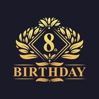 8 years Birthday Logo, Luxury Golden 8th Birthday Celebration. vector