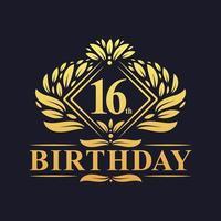 16 years Birthday Logo, Luxury Golden 16th Birthday Celebration. vector
