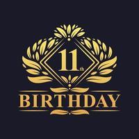 11 years Birthday Logo, Luxury Golden 11th Birthday Celebration. vector