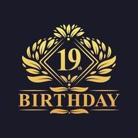 19 years Birthday Logo, Luxury Golden 19th Birthday Celebration. vector