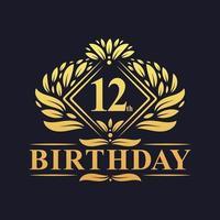 12 years Birthday Logo, Luxury Golden 12th Birthday Celebration. vector