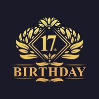 17 years Birthday Logo, Luxury Golden 17th Birthday Celebration. vector