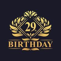 29 years Birthday Logo, Luxury Golden 29th Birthday Celebration. vector