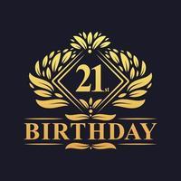 21 years Birthday Logo, Luxury Golden 21st Birthday Celebration. vector