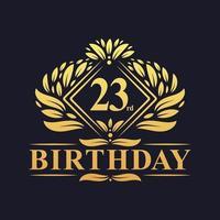 23 years Birthday Logo, Luxury Golden 23rd Birthday Celebration. vector