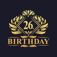 26 years Birthday Logo, Luxury Golden 26th Birthday Celebration. vector