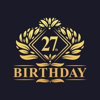 27 years Birthday Logo, Luxury Golden 27th Birthday Celebration. vector