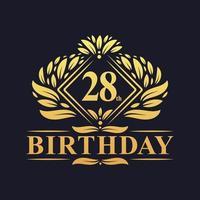28 years Birthday Logo, Luxury Golden 28th Birthday Celebration. vector