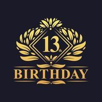 13 years Birthday Logo, Luxury Golden 13th Birthday Celebration. vector