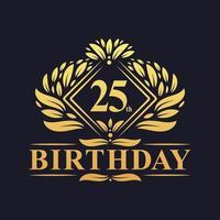 Logotipo de cumpleaños de 25 años, celebración de cumpleaños número 25 de oro de lujo. vector