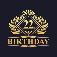 22 years Birthday Logo, Luxury Golden 22nd Birthday Celebration. vector