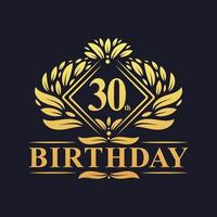 30 years Birthday Logo, Luxury Golden 30th Birthday Celebration. vector
