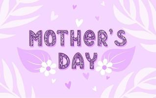 Mothers Day. Lettering inscription with delicate flowers and leaves. Decorative text with a floral pattern. Vector illustration