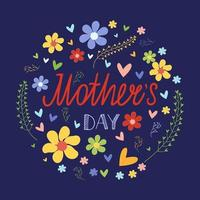 Mother's Day card template. Floral frame with lettering inscription. Vector illustration