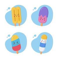 juego de 4 helados kawaii vector