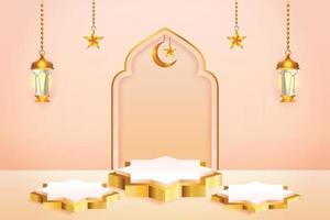 3d product display peach color and gold podium themed islamic with crescent moon, lantern and star for ramadan vector