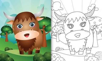 Coloring book for kids with a cute buffalo character illustration vector