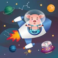 Cute pig in the space galaxy vector