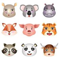 lindas cabezas de animales, rinoceronte, koala, hipopótamo, zorro, cerdo, tigre, mapache, panda y búfalo vector