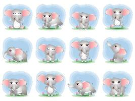 Cute elephants collection in children's style vector