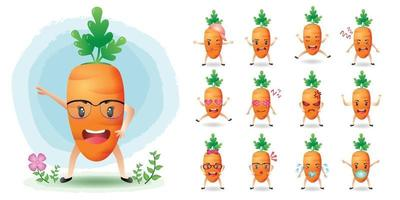 Cute mascot carrot character set collection vector
