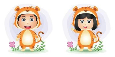 Cute couple using tiger costume vector