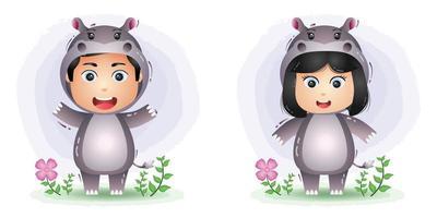 Cute couple using hippo costume vector
