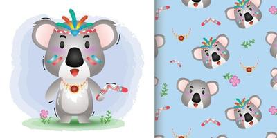 Cute koala with aboriginal costume pattern and illustration designs vector
