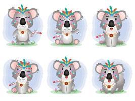 Cute koala collection with aboriginal costume vector
