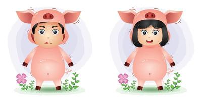 Cute couple using the pig costume vector