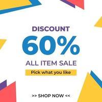 Sale Discount banner template design. Special offer, mega sale, big sale for web and social media marketing in vector