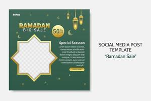 Ramadan Sale social media post template. Web banner advertising with green and golden color style for greeting card, voucher, islamic event. editable vector
