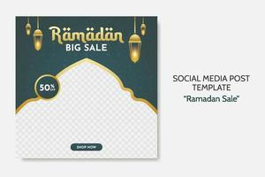Ramadan Sale social media post template. Web banner advertising with green and golden color style for greeting card, voucher, islamic event. vector