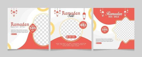 Set of Ramadan Sale social media post template. Web banner advertising for greeting card, voucher, islamic event. vector