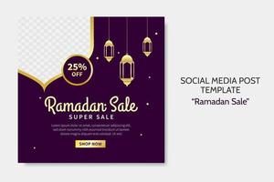 Ramadan Sale social media post template. Web banner advertising with purple and golden color style for greeting card, voucher, islamic event. vector