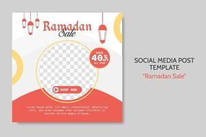 Ramadan Sale social media post template. Web banner advertising with red and golden color style for greeting card, voucher, islamic event. vector