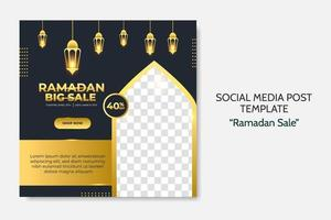 Ramadan Sale social media post template. Web banner advertising for greeting card, voucher, islamic event. vector