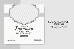 Ramadan Sale social media post template. Web banner advertising with white and grey color style for greeting card, voucher, islamic event. vector
