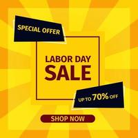 Sale banner template design. Labor Day Sale Special offer with yellow style for web and social media marketing best price in vector