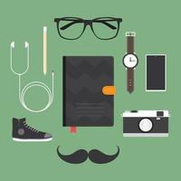 Hipster accessory set vector