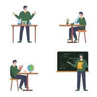 personajes de estudiantes con clase escolar. vector