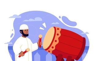 Man Playing Bedug Islamic Traditional Drum vector